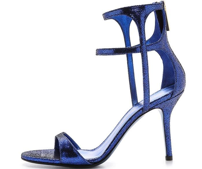 "Tamara Mellon ""Glow"" Cracked Metallic Suede Sandals"