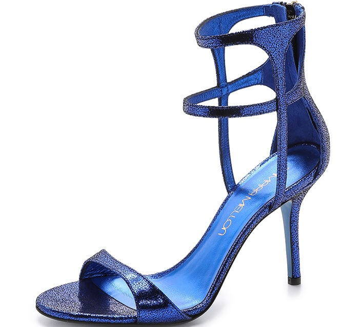 "Tamara Mellon ""Glow"" Cracked Metallic Suede Sandals"