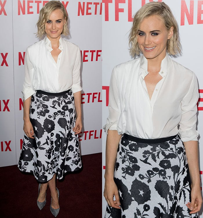 """Taylor Schilling in a Vionnet Resort 2016 skirt and a white button-down shirt at the FYC screening of """"Orange Is the New Black"""" in New York City on August 11, 2015"""