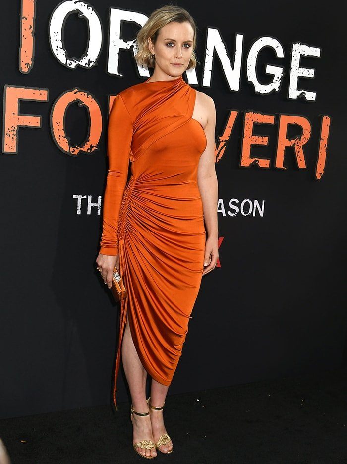 Taylor Schilling in a one-shoulder dress with ruching from Monse
