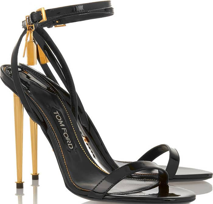 Tom Ford Black Patent Sandals Padlock Key Charms