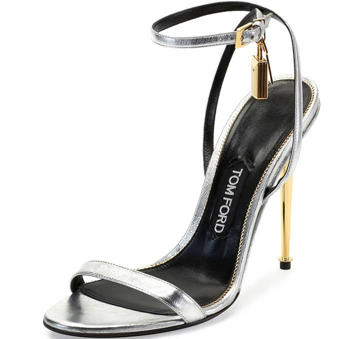 Tom Ford Metallic Silver Ankle Lock Sandals
