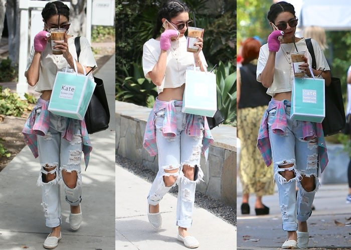 Vanessa Hudgens sports a braided hairstyle and juggles iced coffee and a Kate Sommerville bag