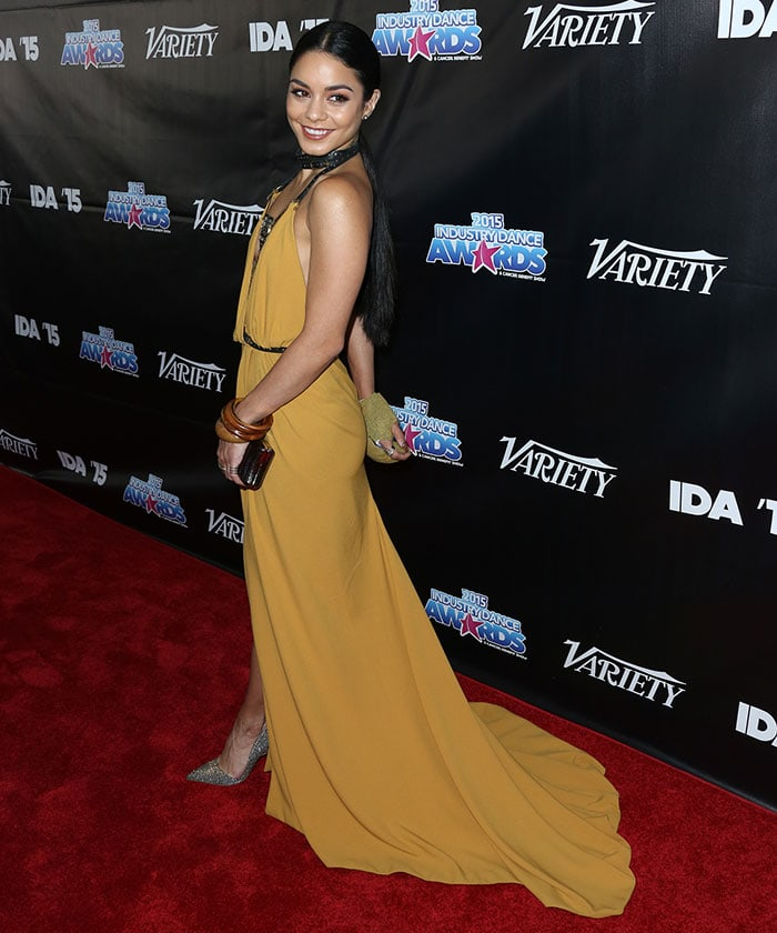 Vanessa Hudgens rocked a Galia Lahav mustard dress
