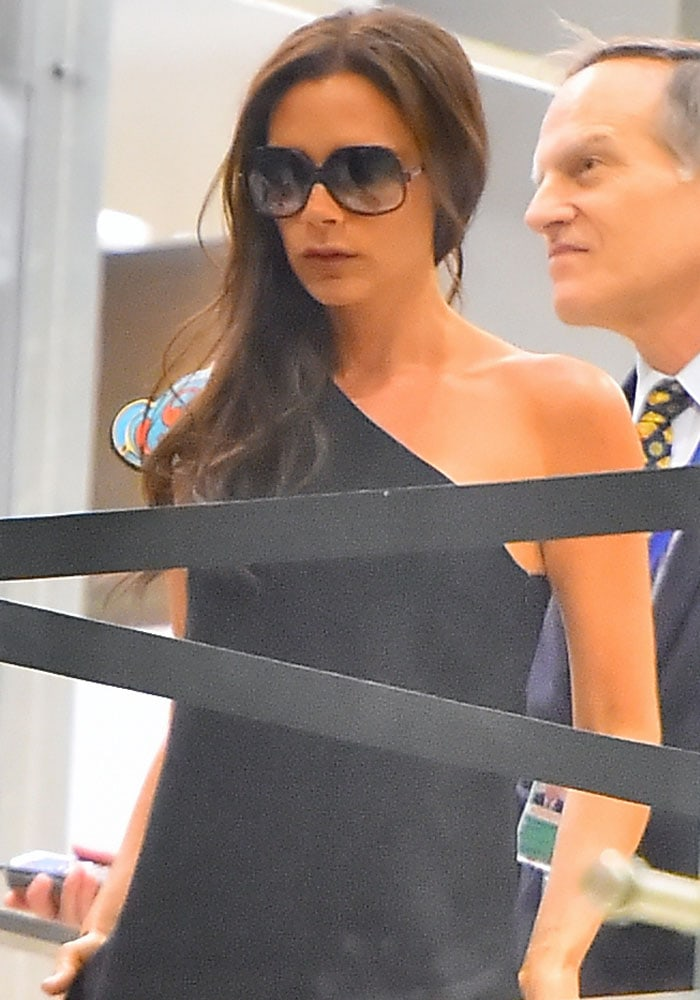 Victoria Beckham arrives at Los Angeles International (LAX) airport on August 1, 2015