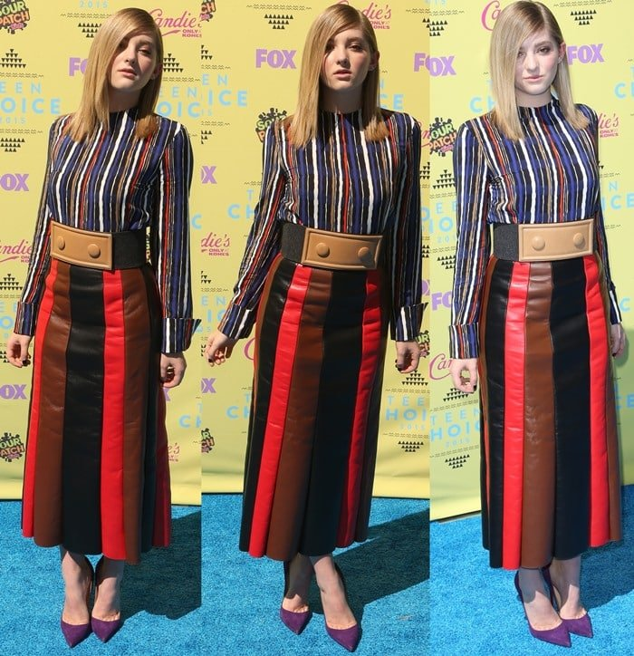 Willow Shields sports a top-and-skirt combo from Marni on the blue carpet
