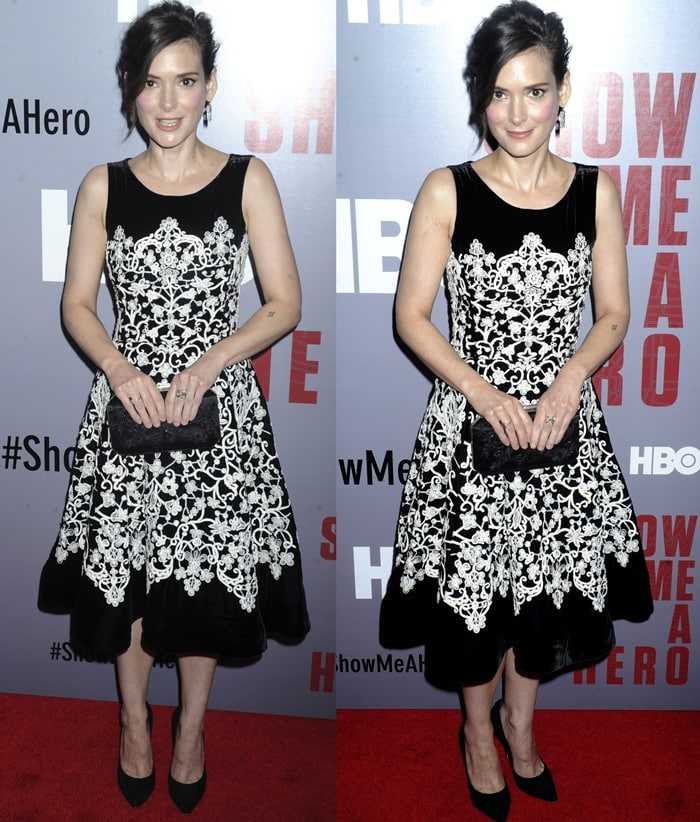 Winona Ryder at the screening of Show Me A Hero held at The New York Times Center