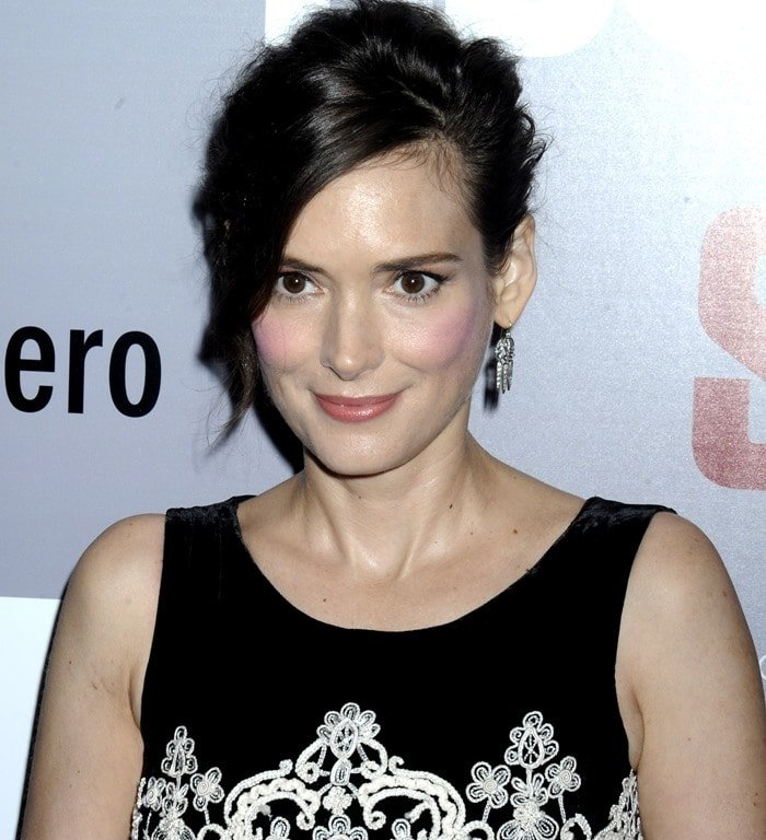 Winona Ryder's dress featuring ivory thread-work scroll embroidery