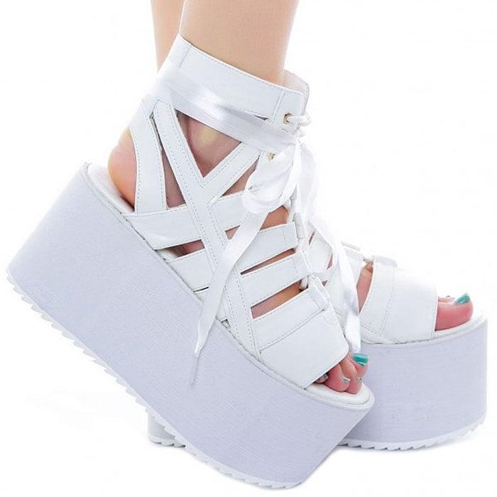 """Y.R.U. """"Medusa"""" Lace-Up Platform Sandals in White"""