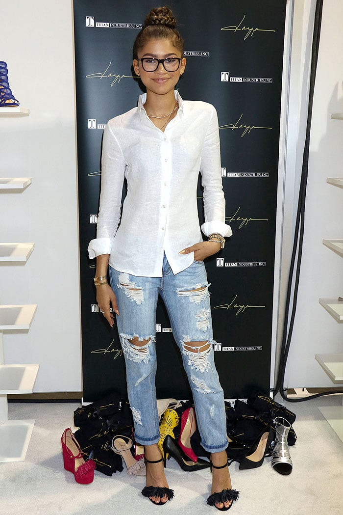 Zendaya at the launch of her Daya shoe collection