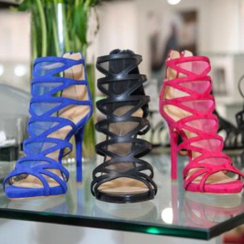 Daya mesh cage sandal booties in blue, black, and pink