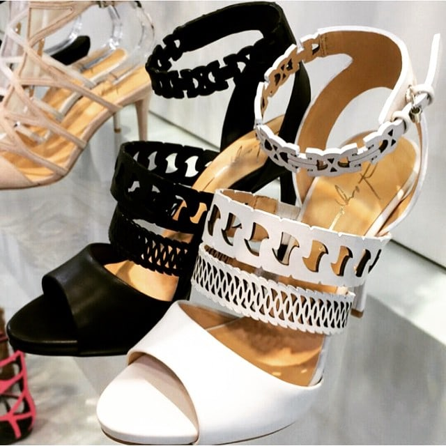 Daya chain-cutout sandals in black and white