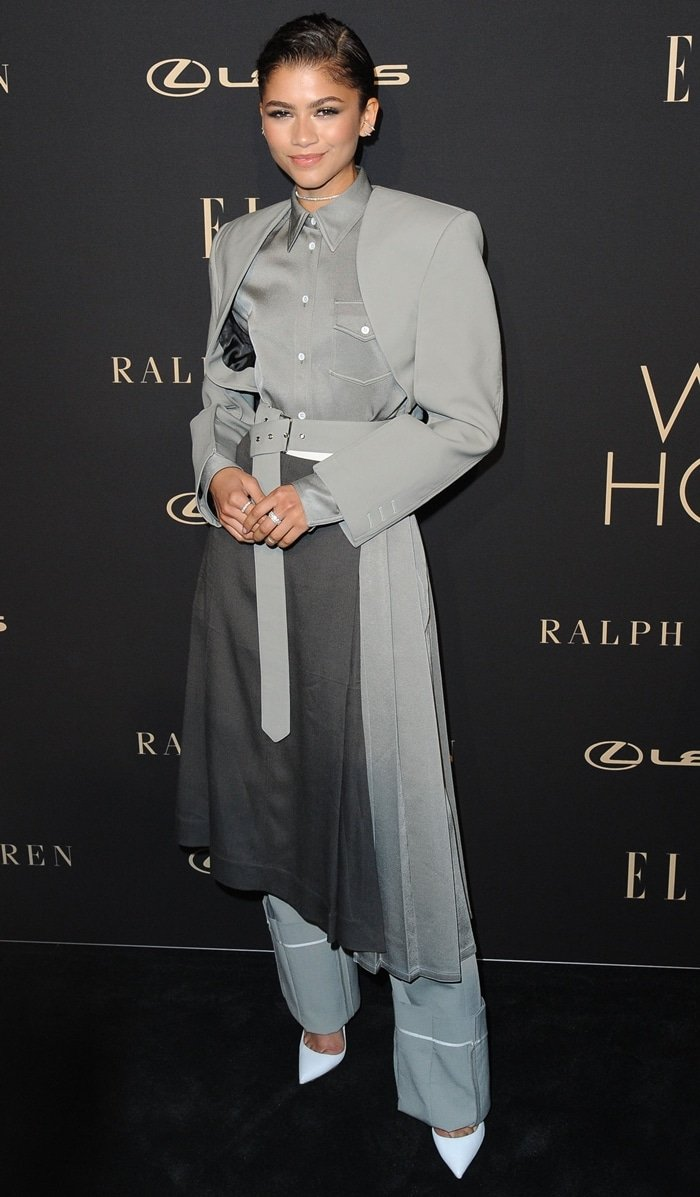 Zendaya in a gray Peter Do pantsuit at the ELLE Women In Hollywood Celebration