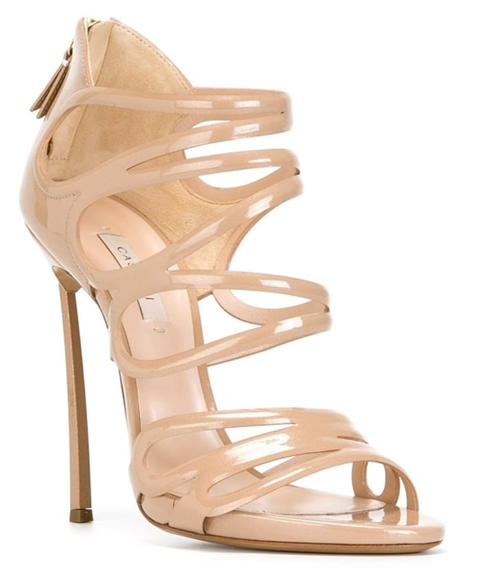 "Casadei ""Blade"" Sandals in Nude Patent Leather"