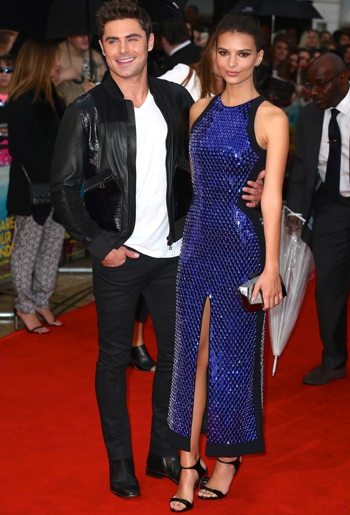 Emily Ratajkowski attends the premiere of her latest film, We Are Your Friends, with co-star Zac Efron