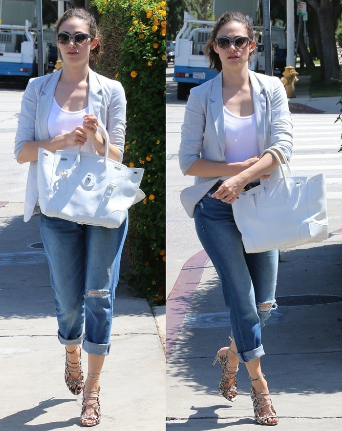 Emmy Rossum rocked a basic white tank with rolled-up jeans and a gray blazer