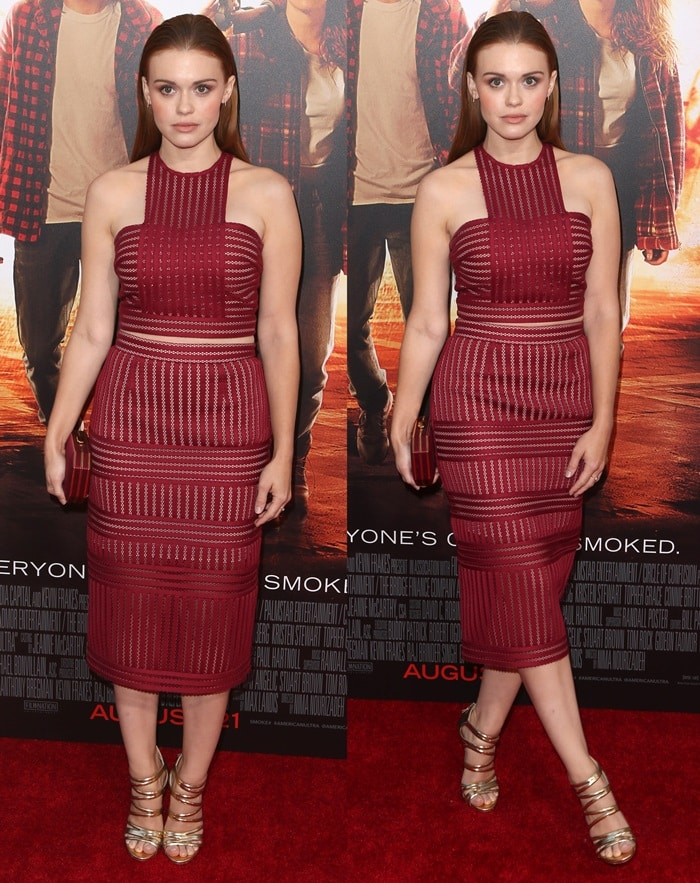 Holland Roden merges a fall color palette with a summer cut in a Self Portrait crop-top-and-skirt combo