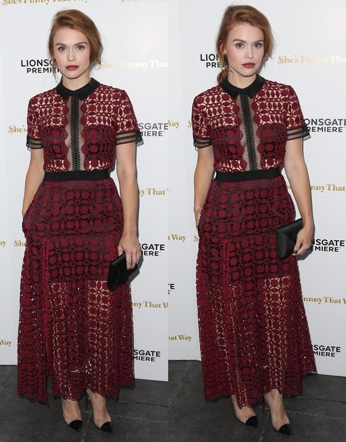 Holland Roden matches her lipstick to her intricate burgundy dress from Self Portrait at the premiere of She's Funny That Way