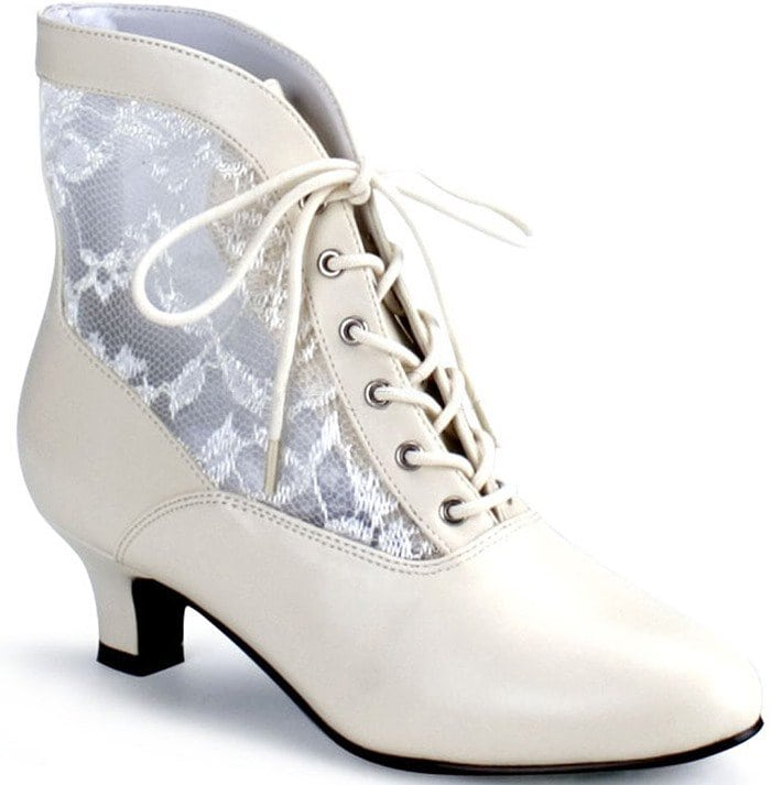 Ivory Lace Victorian Style Booties