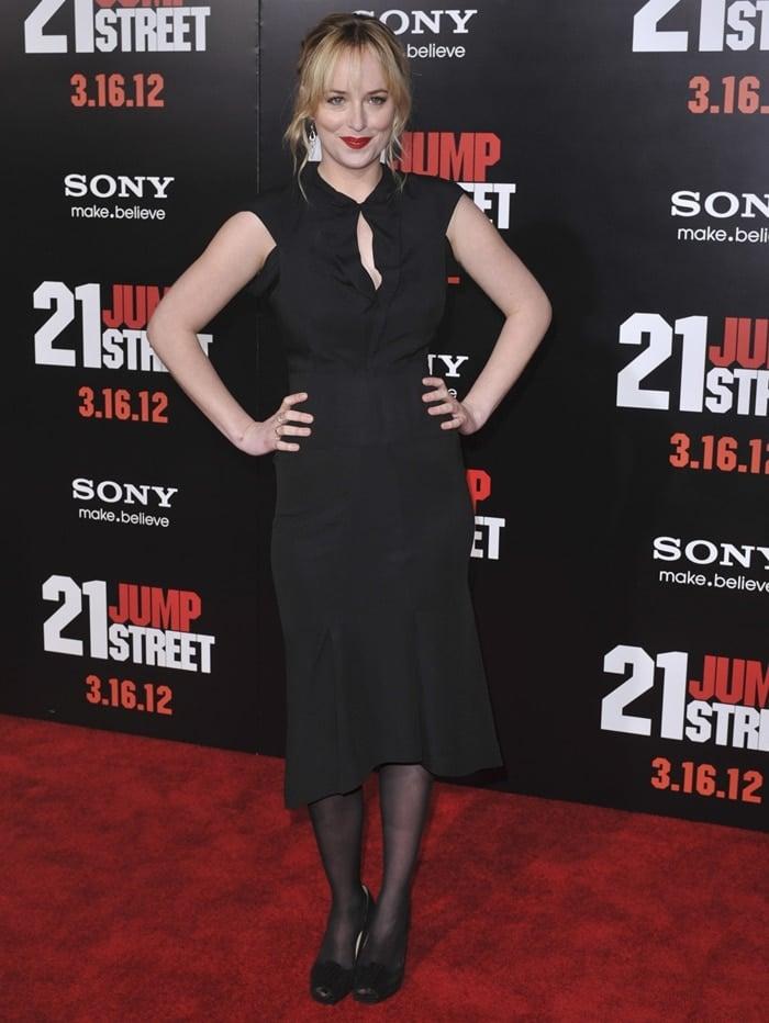 Actress Dakota Johnson arrives at the premiere of 21 Jump Street