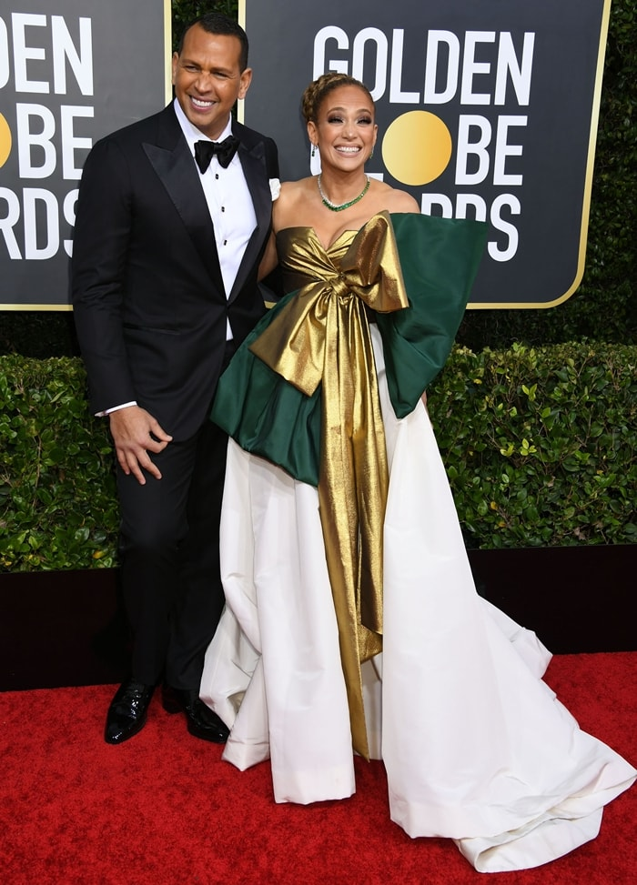 Alex Rodriguez and Jennifer Lopez arrive at the 2020 Golden Globe Awards
