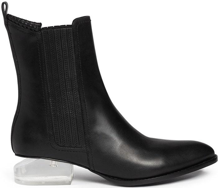 "Alexander Wang ""Anouck"" Plexiglass Heel Leather Ankle Boots"