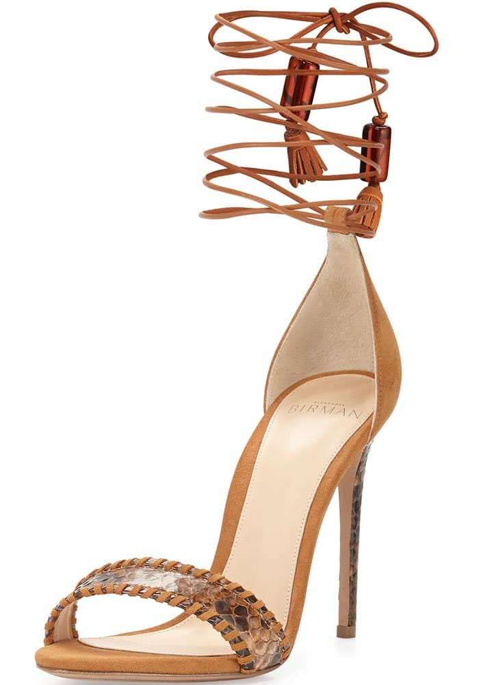 "Alexandre Birman ""Toni"" Leather & Python Sandal in Macchia/Caramel"
