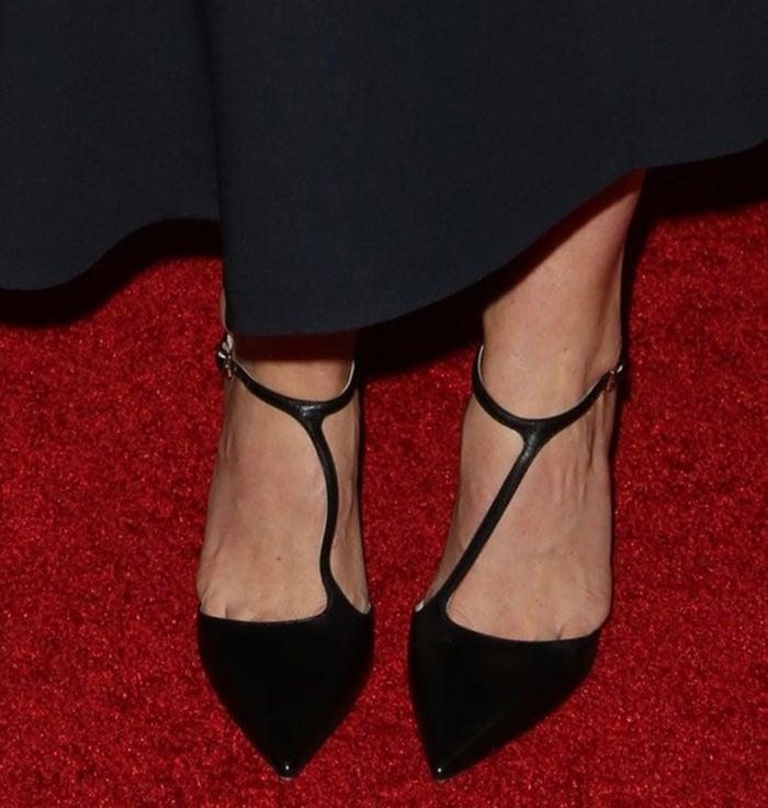 Alice Eve wears a pair of black Jimmy Choo pumps