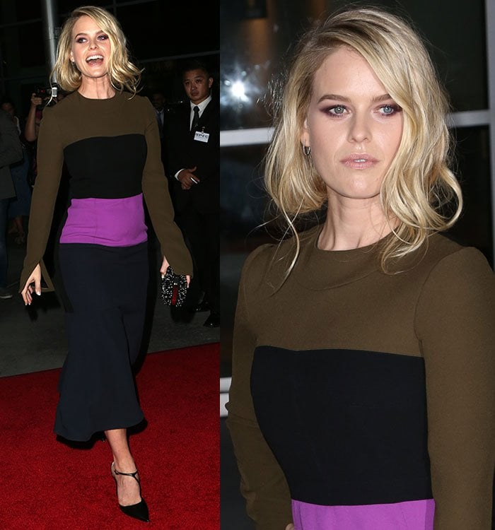 """Alice Eve laughs as she attends the premiere of """"Before We Go"""" in a color-blocked dress from Marni"""