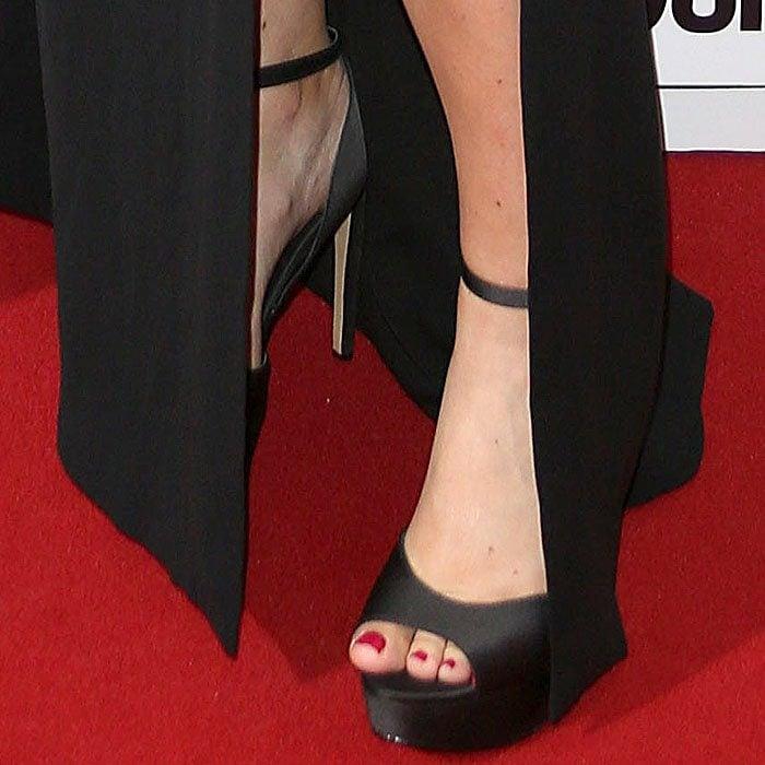 Amy Schumer black satin platform sandals