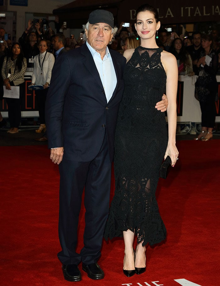 """Robert De Niro and Anne Hathaway attend the European premiere of """"The Intern"""""""
