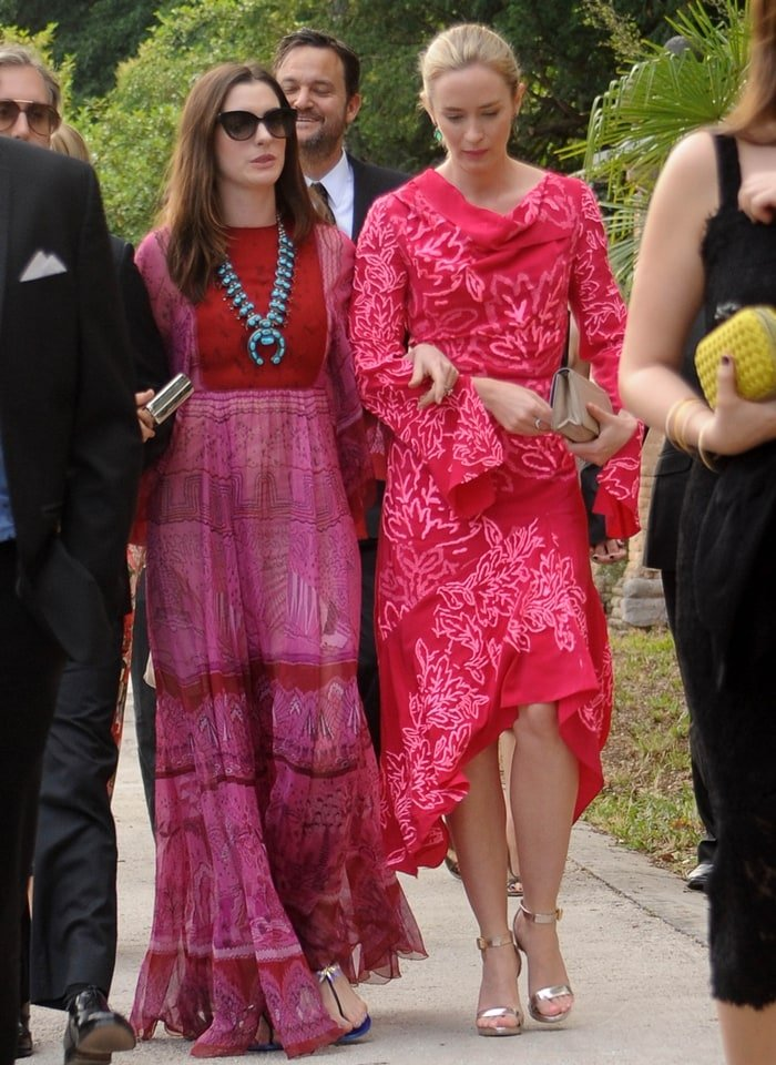 Anne Hathaway and Emily Blunt arrive for the wedding of Jessica Chastain and Gian Luca Passi de Preposulo