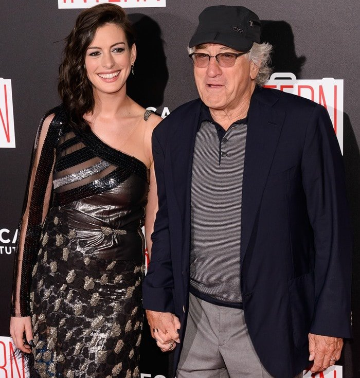 "Anne Hathaway and Robert De Niro attend the premiere of their film ""The Intern"""