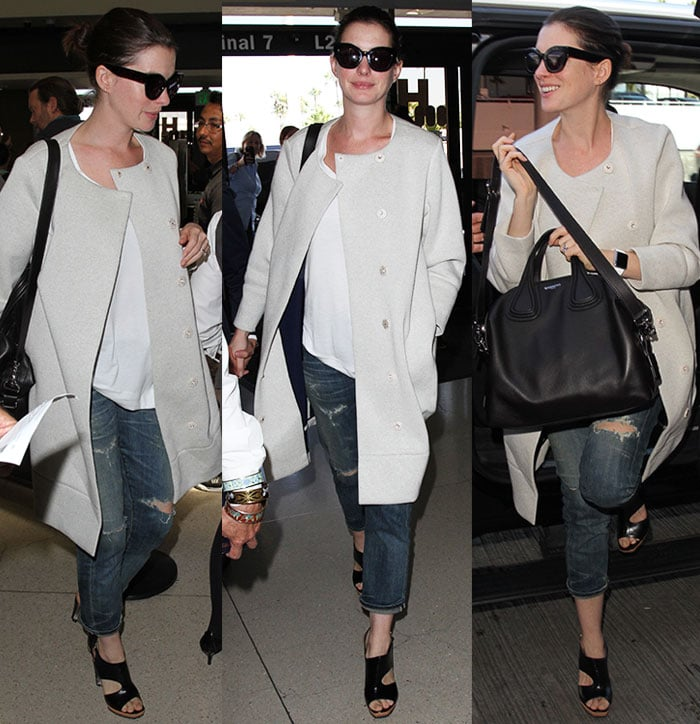 Anne-Hathaway-coat-ripped-jeans-sandals-LAX