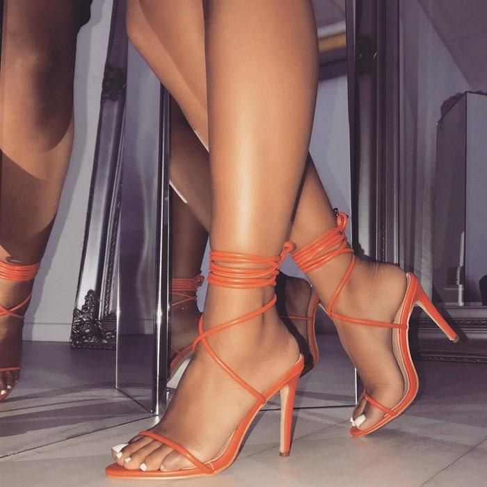Orange Lace Up Stiletto Heels