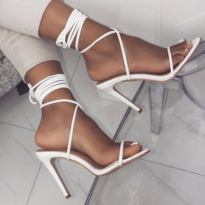 White Lace Up Stiletto Heels