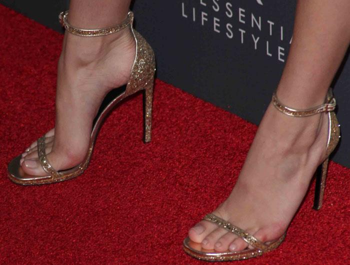 Bella Thorne shows off her hot feet in glittery Saint Laurent sandals