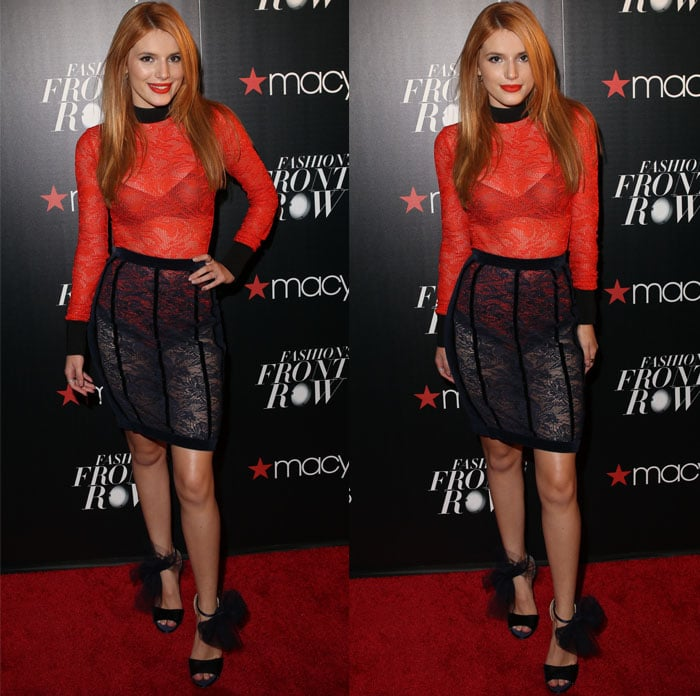 Bella Thorne poses in a red-and-black look that matches the promotional materials for Macy's Fashion's Front Row