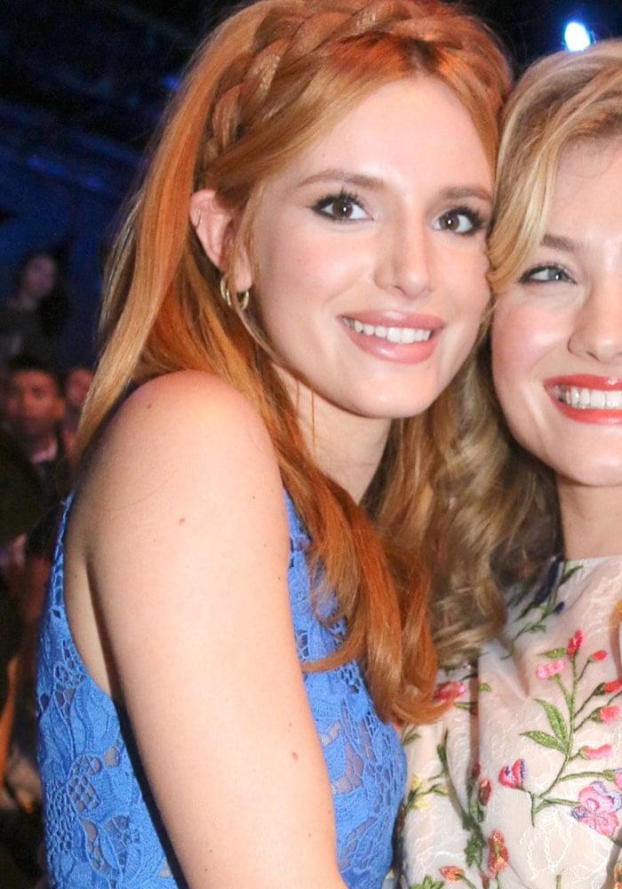 Bella Thorne and Skyler Samuels attend the Monique Lhuillier New York Fashion Week Spring 2016 show