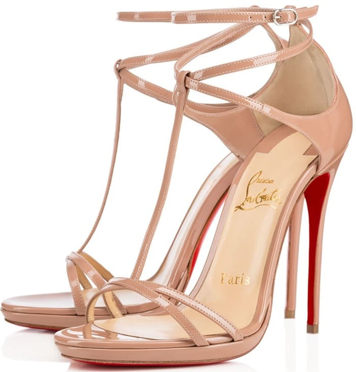 Nude Christian Louboutin Benedetta Fall 2015 T-Strap Sandals
