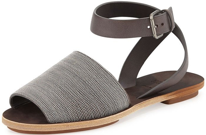 Brunello Cucinelli Beaded Ankle Strap Sandals