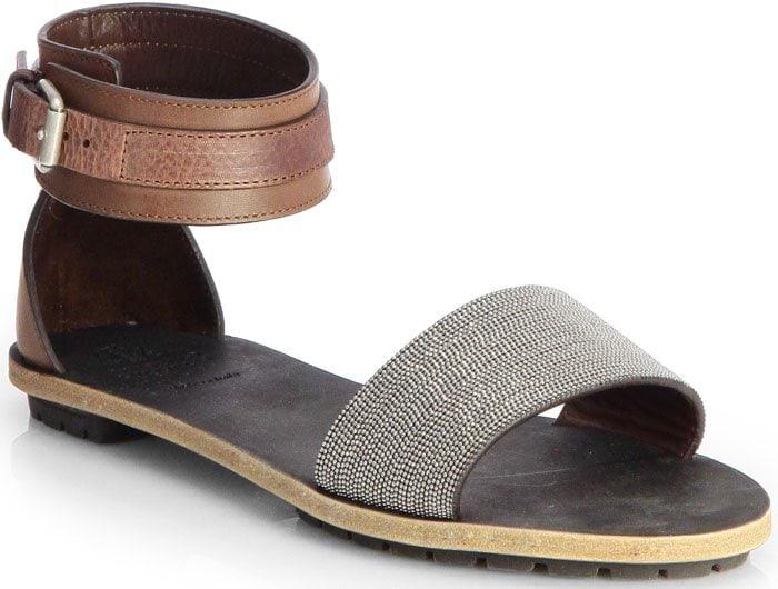 Brunello Cucinelli Brown Beaded Sandals