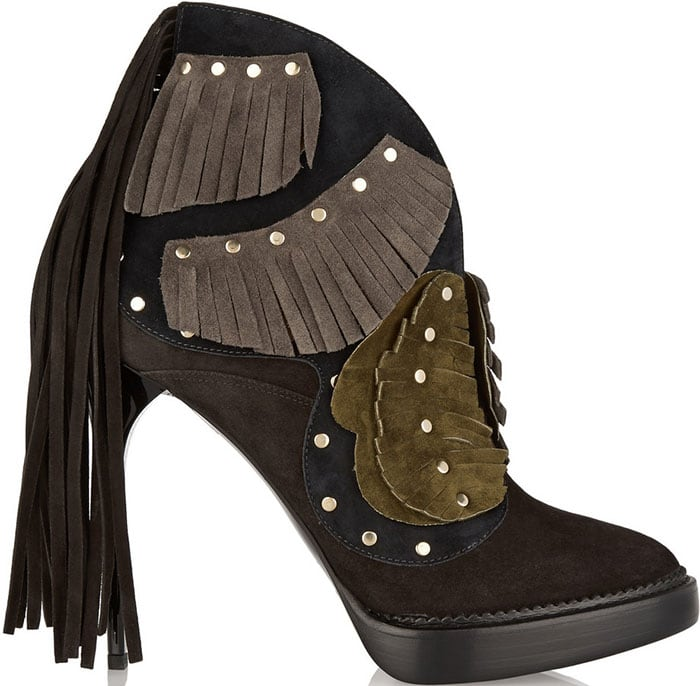Burberry Lilybell Studded Fringed Suede Booties