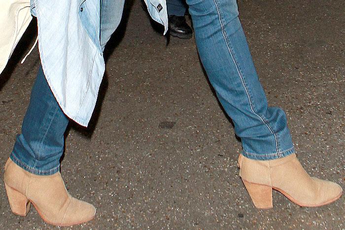 "Closeup of Cameron Diaz's Rag & Bone ""Newbury"" boots in camel canvas"