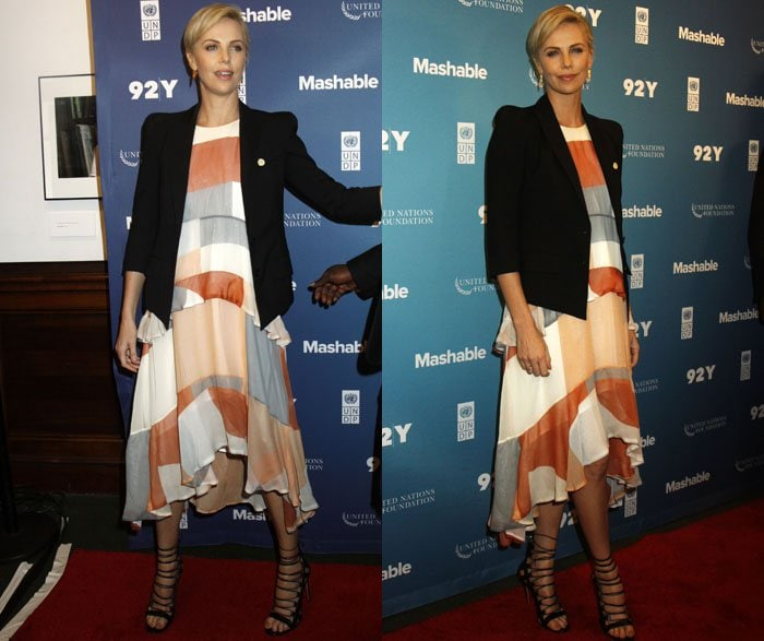 Charlize Theron wears a Zimmerman dress at the 2015 Social Good Summit held in Manhattan