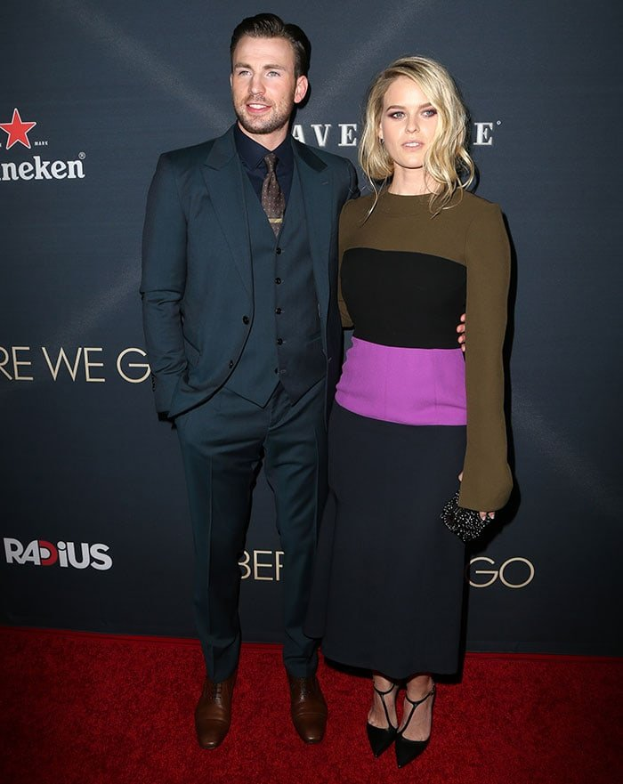 """Chris Evans and Alice Eve pose on the red carpet at the """"Before We Go"""" premiere"""