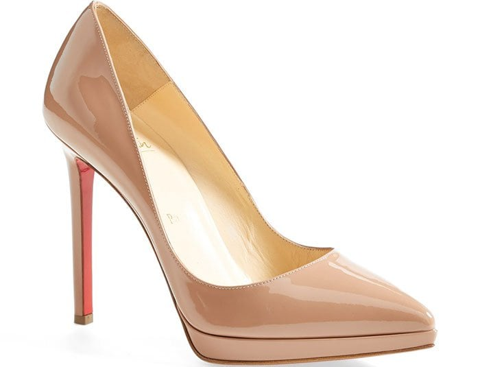 """Christian Louboutin """"Pigalle Plato"""" Pointy-Toe Pumps Nude"""
