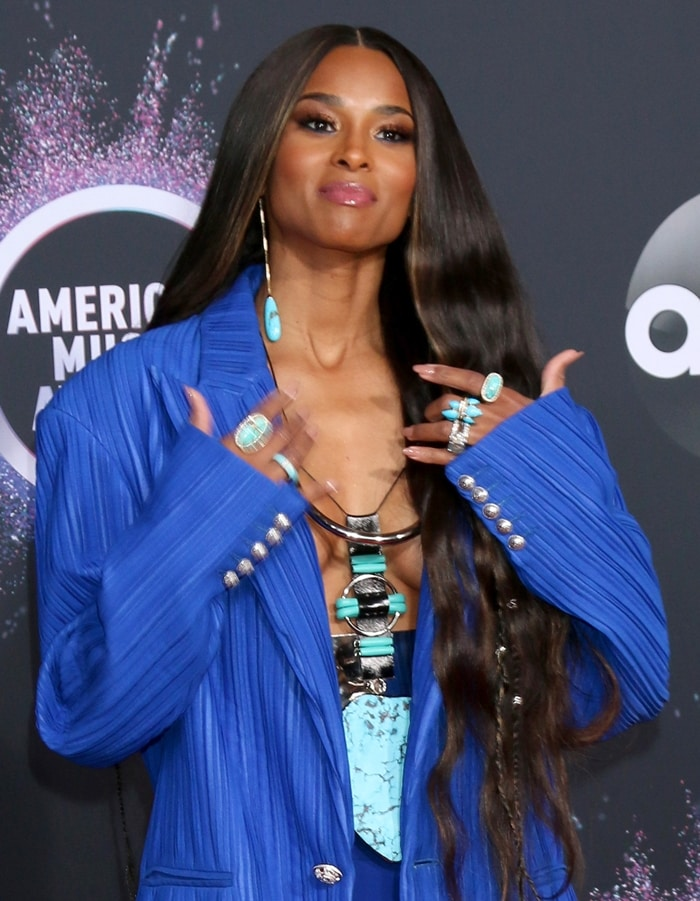 Ciara's strategically placed statement Balmain necklace