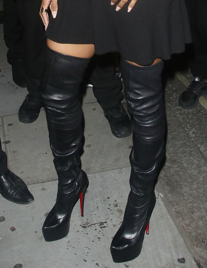 Ciara wearing Christian Louboutin Monicarina thigh-high leather boots