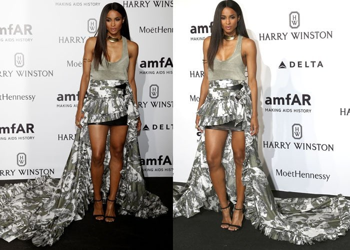 Ciara cascaded down the red carpet a huge billowing skirt by Roberto Cavalli